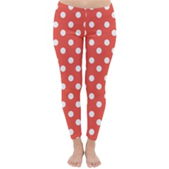 Indian Red Polka Dots Winter Leggings