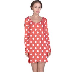 Indian Red Polka Dots Long Sleeve Nightdresses