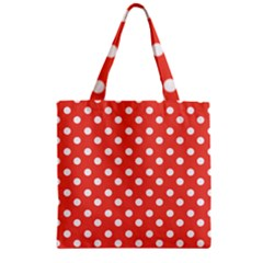 Indian Red Polka Dots Zipper Grocery Tote Bags