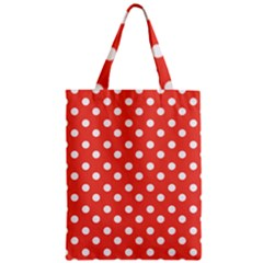 Indian Red Polka Dots Zipper Classic Tote Bags