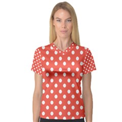 Indian Red Polka Dots Women s V-Neck Sport Mesh Tee
