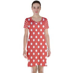 Indian Red Polka Dots Short Sleeve Nightdresses