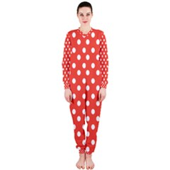 Indian Red Polka Dots OnePiece Jumpsuit (Ladies)