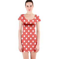 Indian Red Polka Dots Short Sleeve Bodycon Dresses