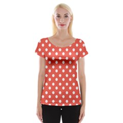 Indian Red Polka Dots Women s Cap Sleeve Top