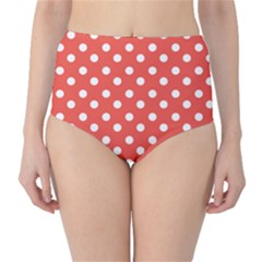 Indian Red Polka Dots High-Waist Bikini Bottoms