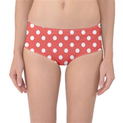 Indian Red Polka Dots Mid Waist Bikini Bottoms