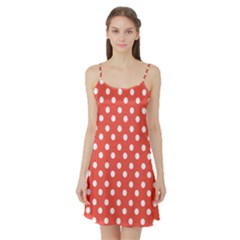 Indian Red Polka Dots Satin Night Slip
