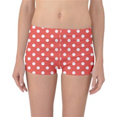 Indian Red Polka Dots Reversible Boyleg Bikini Bottoms