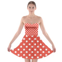 Indian Red Polka Dots Strapless Bra Top Dress