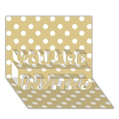 Mint Polka And White Polka Dots YOU ARE INVITED 3D Greeting Card (7x5)