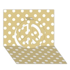 Mint Polka And White Polka Dots Peace Sign 3d Greeting Card (7x5)