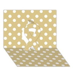 Mint Polka And White Polka Dots Ribbon 3D Greeting Card (7x5)