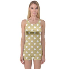 Mint Polka And White Polka Dots Women s Boyleg One Piece Swimsuits