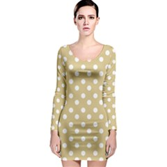 Mint Polka And White Polka Dots Long Sleeve Bodycon Dresses