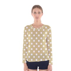 Mint Polka And White Polka Dots Women s Long Sleeve T-shirts