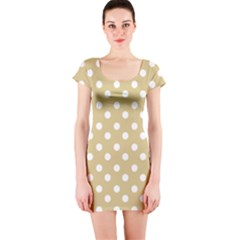 Mint Polka And White Polka Dots Short Sleeve Bodycon Dresses