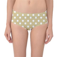 Mint Polka And White Polka Dots Mid-Waist Bikini Bottoms