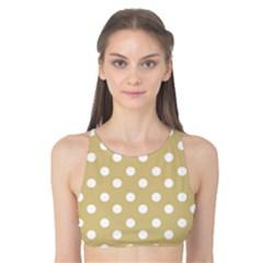 Mint Polka And White Polka Dots Tank Bikini Top