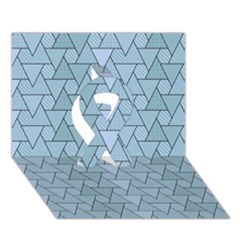 Geo Fun 7 Light Blue Ribbon 3d Greeting Card (7x5)