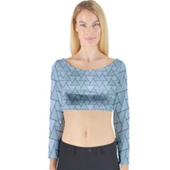Geo Fun 7 Light Blue Long Sleeve Crop Top