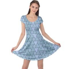 Geo Fun 7 Light Blue Cap Sleeve Dresses