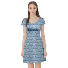 Geo Fun 7 Light Blue Short Sleeve Skater Dresses