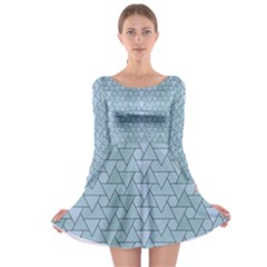 Geo Fun 7 Light Blue Long Sleeve Skater Dress
