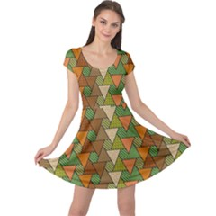 Geo Fun 7 Warm Autumn  Cap Sleeve Dresses