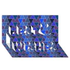 Geo Fun 7 Inky Blue Best Wish 3d Greeting Card (8x4)
