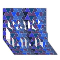 Geo Fun 7 Inky Blue You Did It 3d Greeting Card (7x5)