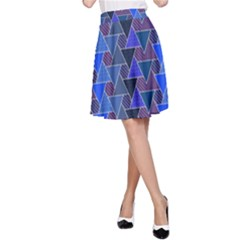 Geo Fun 7 Inky Blue A-Line Skirts