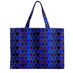 Geo Fun 7 Inky Blue Zipper Tiny Tote Bags