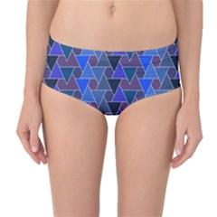 Geo Fun 7 Inky Blue Mid Waist Bikini Bottoms