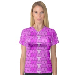 Geo Fun 7 Women s V Neck Sport Mesh Tee