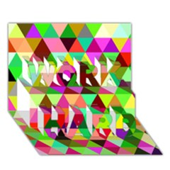 Geo Fun 07 Work Hard 3d Greeting Card (7x5)