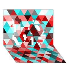 Geo Fun 07 Red Love 3d Greeting Card (7x5)