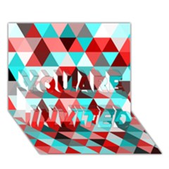 Geo Fun 07 Red YOU ARE INVITED 3D Greeting Card (7x5)