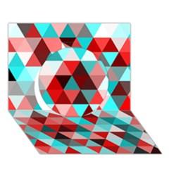 Geo Fun 07 Red Circle 3D Greeting Card (7x5)