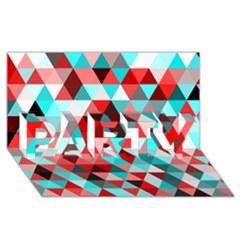 Geo Fun 07 Red Party 3d Greeting Card (8x4)