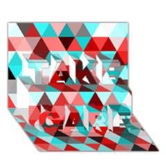 Geo Fun 07 Red TAKE CARE 3D Greeting Card (7x5)