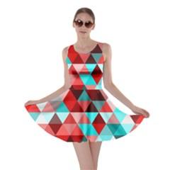 Geo Fun 07 Red Skater Dresses