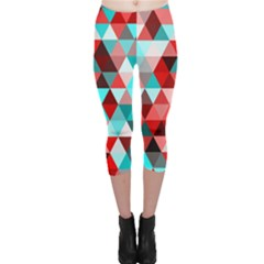 Geo Fun 07 Red Capri Leggings