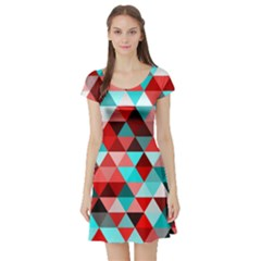 Geo Fun 07 Red Short Sleeve Skater Dresses