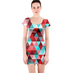 Geo Fun 07 Red Short Sleeve Bodycon Dresses