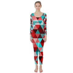 Geo Fun 07 Red Long Sleeve Catsuit