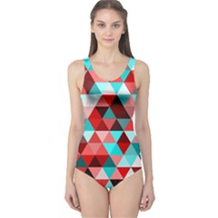 Geo Fun 07 Red Women s One Piece Swimsuits