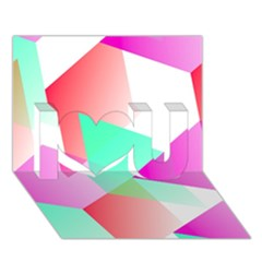 Geometric 03 Pink I Love You 3d Greeting Card (7x5)
