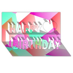 Geometric 03 Pink Happy Birthday 3D Greeting Card (8x4)