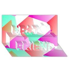 Geometric 03 Pink Best Friends 3D Greeting Card (8x4)